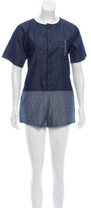 Current/Elliott Charlotte Gainsbourg x Chambray Button-Up Romper