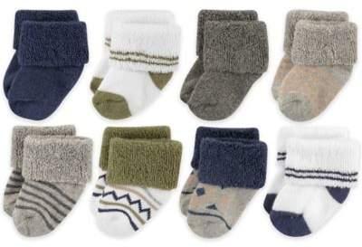 Newborn 8-Pack Aztec-Inspired Socks in Olive Green