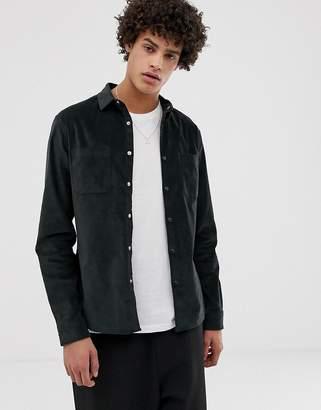 Asos Design DESIGN slim velvet shirt in dark green