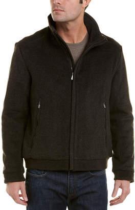 Hart Schaffner Marx Franklin Leather-Trim Wool-Blend Jacket