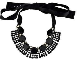 Marni Crystal, Wood & Ribbon Collar Necklace