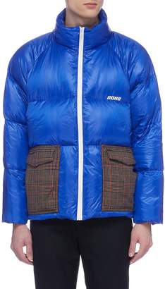 8ON8 Tartan plaid pocket down puffer jacket