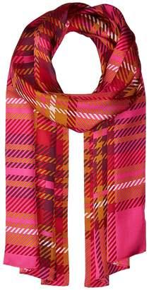 Echo Graphic Plaid Silk Oblong Scarf Scarves