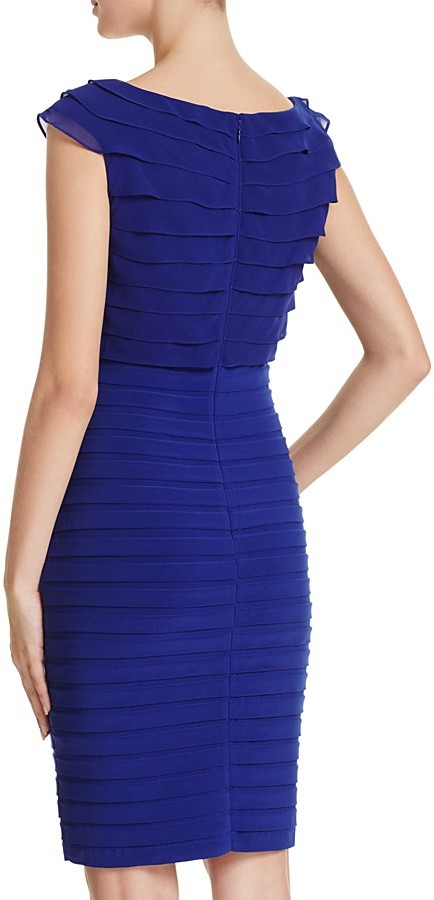 Adrianna Papell V-Neck Shutter Pleated Dress 3