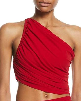 Norma Kamali Diana One-Shoulder Shirred Bikini Top