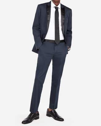 Express Slim Blue Cotton Sateen Satin Accent Tuxedo Pant