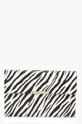 boohoo Zebra PU & Bar Clutch
