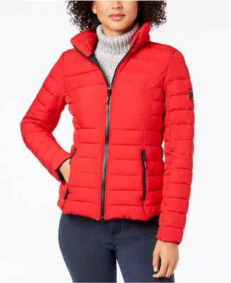 Nautica Hooded Contrast-Trim Packable Puffer Coat