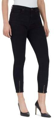 William Rast High-Rise Cropped Skinny Jeans with Zippered Ankles
