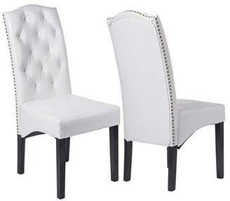 Merax High Back Nailhead Dining Chair, 2-Piece Set, White PU Leather