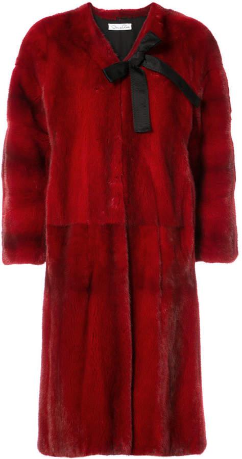 Oscar de la Renta bow detail fur coat