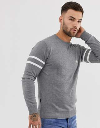 Le Breve Lightweight Knitted Sweater with Arm Stripe