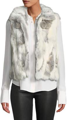 Adrienne Landau Rabbit Fur Pompom Vest