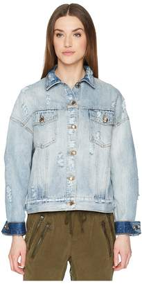 The Kooples Denim Jacket with Destroyed Effect Women's Coat