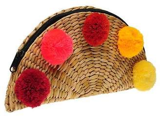 Glamorous Womens Pompom Clutch Shoulder Bag Zip