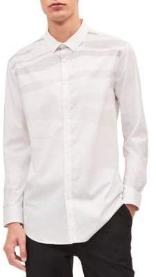 Calvin Klein Zebra-Print Casual Button-Down Shirt
