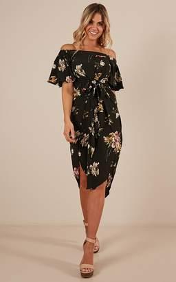 Showpo Snow Bird dress in black floral - 14 (XL) Dresses
