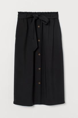 H&M Paper-bag Skirt - Black