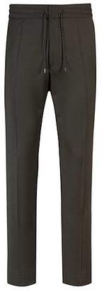 HUGO BOSS Tapered-fit stretch-virgin-wool trousers with elasticated waist
