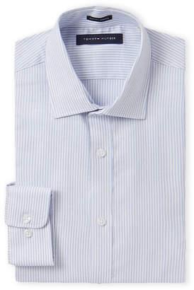 Tommy Hilfiger Slim Fit Stretch Broken Stripe Long Sleeve Dress Shirt