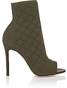 Gianvito Rossi Women's Perforated Knit Ankle Booties-Army Green