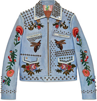 Embroidered leather jacket $7,980 thestylecure.com