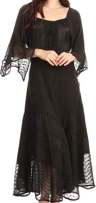 Sakkas 15224 - Bexley Scoop Neck Bell Sleeve Bohemian Gypsy Embroidered Corset Dress