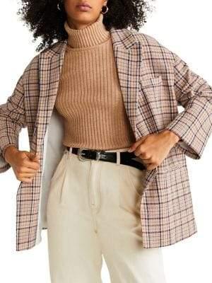 MANGO Checkered Unstructured Jacket