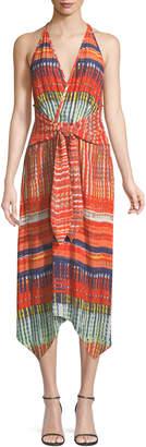 Ramy Brook Ella V-Neck Sleeveless Tie-Front Printed Dress