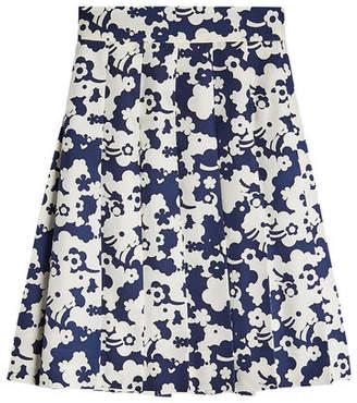 Marc Jacobs Pleated Print Silk Skirt