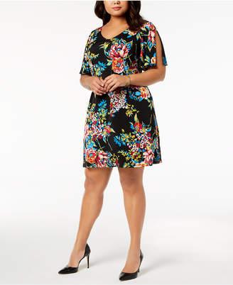 MSK Plus Size Printed Split-Sleeve Dress