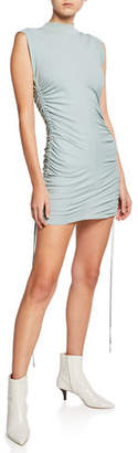 Alexander Wang High-Neck Ruched Jersey Dress with Ties