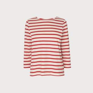 LK Bennett Trin Red White Cotton Jersey Top