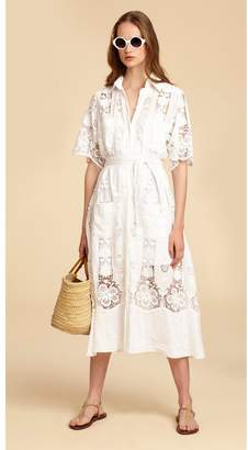 Miguelina Berly Cotton/Linen Belted Midi Dress