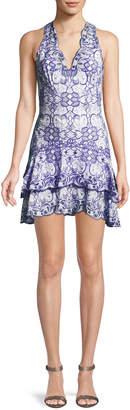 Jonathan Simkhai V-Neck Sleeveless Scallop Tiered Mini Dress