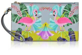 Furla Flamingo Printed Toni Fiordaliso Saffiano Leather Babylon XL Envelope Clutch