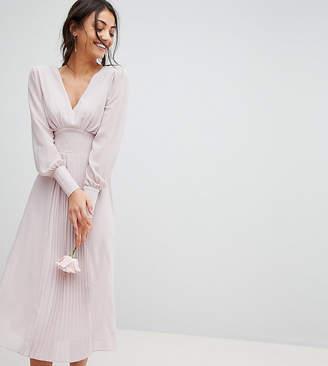 Tfnc Tall Long Sleeve Midi Bridesmaid Dress With Pleated Skirt