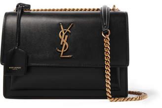 Saint Laurent Sunset Medium Textured-leather Shoulder Bag - Black