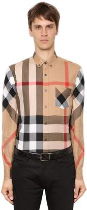 Burberry Macro Check Twill Long Sleeve Shirt
