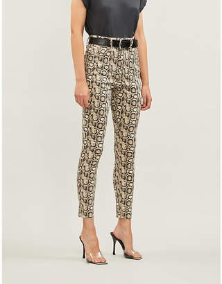 Good American Good Legs snake-print high-rise jeans