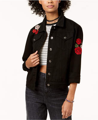 The Edit By Seventeen Juniors' Love Me Embroidered Denim Jacket, Created for Macy's