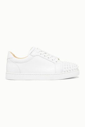 Christian Louboutin Viera Spikes Embellished Leather Sneakers - White