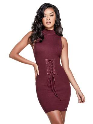 Factory Guess Women's Elanna Lace-Up Sweater Dress