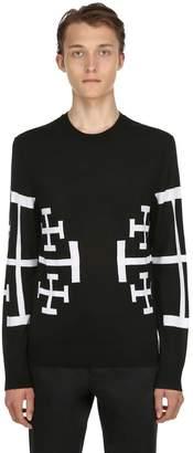 Neil Barrett Stars Jacquard Wool Knit Sweater