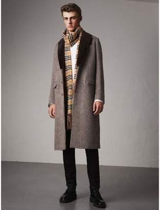Burberry Detachable Mink Collar Alpaca Wool Tailored Coat