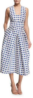 Milly Elisa Sleeveless Gingham Fil Coupe Midi Dress, Cobalt
