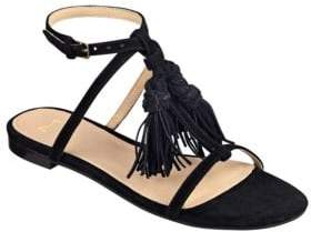 Marc Fisher Crystal Tassel-Accented Suede Sandals