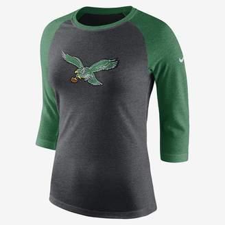Nike NFL Eagles) Women's Tri-Blend 3/4 Sleeve T-Shirt