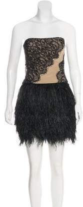 Haute Hippie Silk Feather-Trimmed Dress