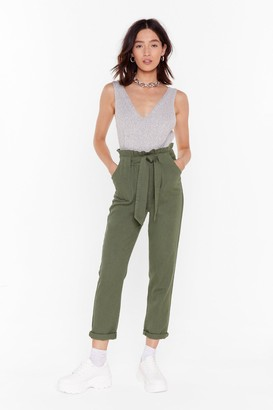 Nasty Gal Womens Tie To Explain Denim Paperbag Trousers - Green - 6